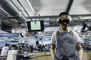 Man wearing an eye mask at London Coffee Festival Coffee Masters 2018
